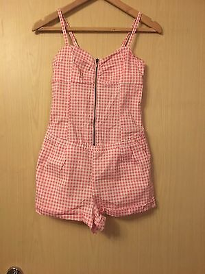 Retro's 50's Rocker Billy Play Suit Pink & White Check Size 10