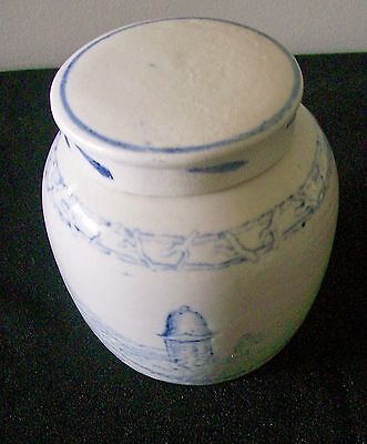 Antique Chinese Blue & White Provincial Stonewear Ming Pot / Ginger Jar With Lid