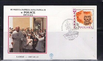 1987 Poland Pope John Paul Ii Special Hand Stamp Fdc From Collection 4C/09