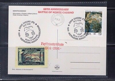 1994 50Th Anniv Battle Of Monte Casino Stamped Postcard From Collection 4C/13