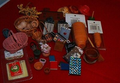 Doll house miniatures lot of  30+ pots,bags,flowers,baskets, hats, misc.
