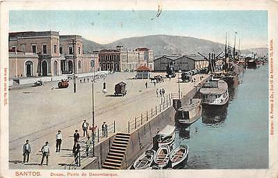 SANTOS, BRAZIL ~ DOCK OVERVIEW, SHIPS, WORKERS ~ used c. 1903-16