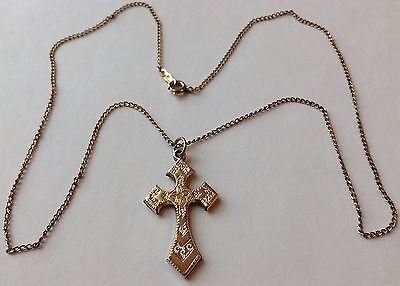 Vintage 12K Yellow Gold Filled Cross Pendant Necklace
