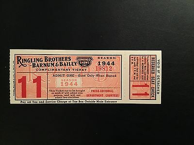 Ringing Brothers Barnum & Bailey comp ticket 1944 Hartford circus fire season