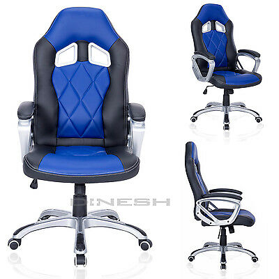 Arc-04 Manager Chair Black Blue Sport Seat Racing Swivel Office Bucket