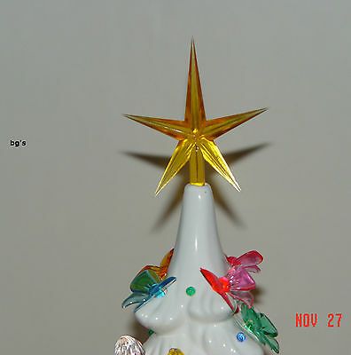 (3) Ceramic Christmas Tree Star GOLD Large twist bulb vintage replacement 2-1/2