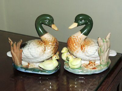 Duck Ornaments   Two Identical Delightful Ceramic Ducks with Baby Ducks