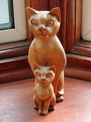 Rare Unique Hand-Made Cat with Kitten Wooden Ornament