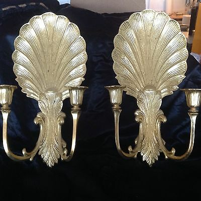 Vintage Hollywood Regency Gold Leaf Over Solid Brass Shell Candle Sconce Pair