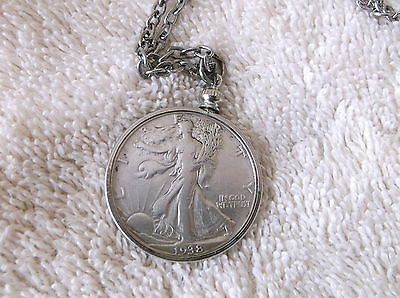 1938 Liberty half dollar pendant with chain
