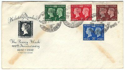 1940 Great Britain FDC - Penny Black Stamp Centenary - 252//256