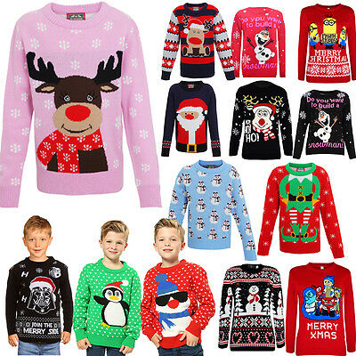 Kids New Xmas Jumpers Boys Girls Christmas Retro Sweater Unisex Novelty Jumpers