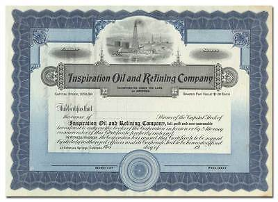Inspiration Oil and Refining Company Stock Certificate