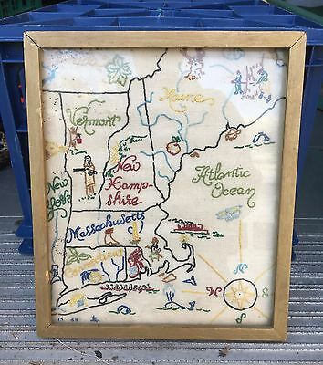 Vintage Needlepoint Map of New England 1954 11'' tall Lovely!