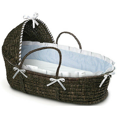 Espresso Hooded Moses Basket in Blue Gingham
