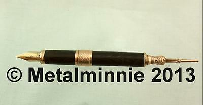 Mabie Todd & Co No. 4 Gold And Vulcanite Combo Propelling Pencil And Dip Pen