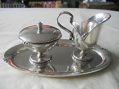Solid Sterling Silver Mexican 925 Cream Sugar Tray Set 644 Grams