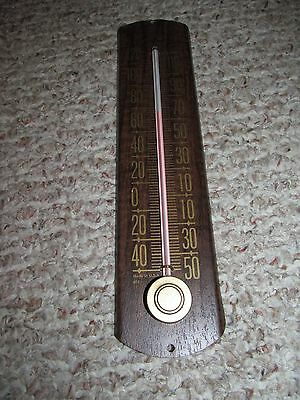 Vintage Woodgrain Cooper Made in USA 601 Thermostat Thermometer Metal Back