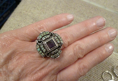 Vtg Matilde Poulat MATL 925 Sterling Silver Amethyst & Turquoise Ring Taxco