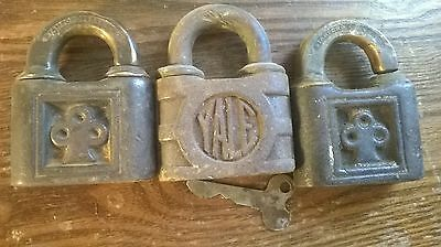 Three Vintage Brass/Iron Yale & Towne Padlocks