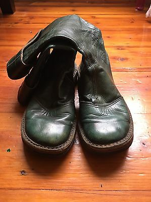 Vintage Green Leather Calf High Boots Size 5