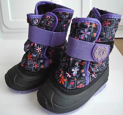 Kamik Snow Boots Girls Toddler 6 Kids Purple Velcro Waterproof Fleece