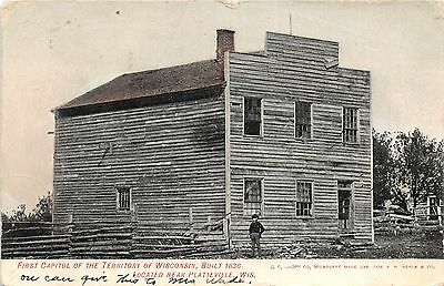 B67/ Platteville Wisconsin Wi Postcard 1908 First Capitol Territory Built 1836