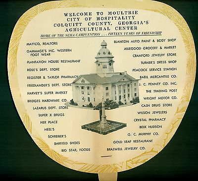 "1960's Moultrie,GA ""City of Hospitality"" Advertising Hand Fan"