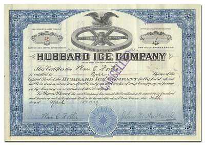 Hubbard Ice Company Stock Certificate - Great Vignette!