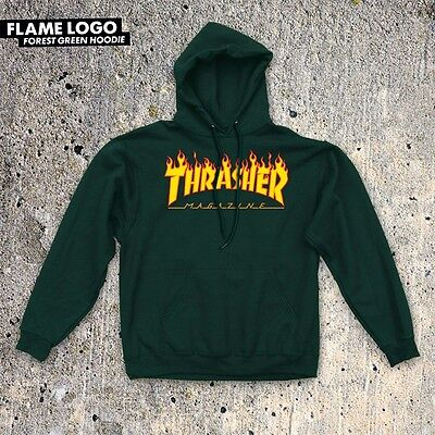 Thrasher Magazine FLAMES Pullover Skateboard Hoodie FOREST GREEN LARGE
