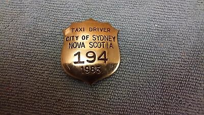 Vintage City Of Sydney Nova Scotia Taxi Driver Shield Badge 1985