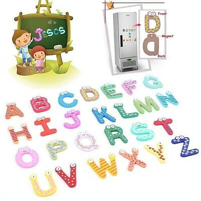Wooden Kids Toy Spelling Alphabet 10 Numbers+26 Letters Fridge Magnetic Sticker