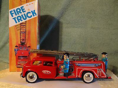"Large Working Tin Toy Friction Fire Truck With Siren  10 1/2"" Long"