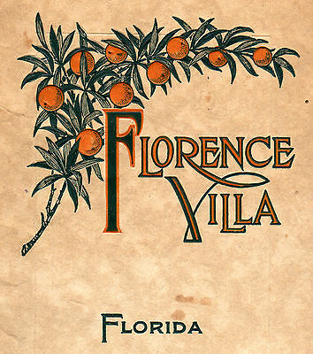 Florence Villa Hotel * Winter Haven, Florida * Beautiful c.1920 Brochure * Golf