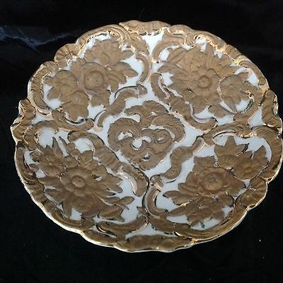 MEISSEN Style Raised Embossed Gold Floral Cabinet Plate Bowl Holes For Hanging