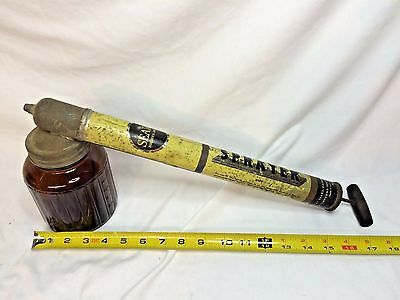 Vintage Sears Metal Amber Glass Hand Pump Insect Garden Sprayer  Wood Handle
