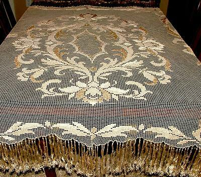 Antique Hand Made Lace Piano Shawl Scarf Tablecloth Gorgeous 58x45 plus Fringe