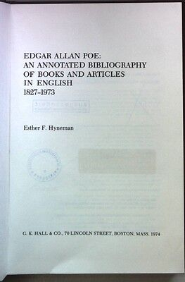 Edgar Allan Poe: An annotated bibliography of books and articles in English, 182