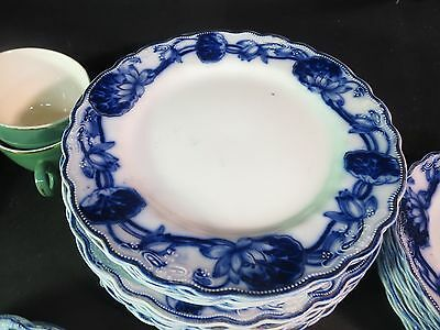 "W. Adams & Co Lily 7-1/4"" Salad Plate Flow Blue Gold Highlights"