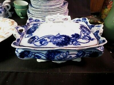 "W. Adams & Co Lily 11"" Covered Vegetable Flow Blue Gold Highlights"