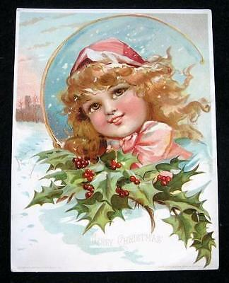 Lovely Antique Lg. Christmas Advertising Trade Card - Woolson Spice/Lion Coffee
