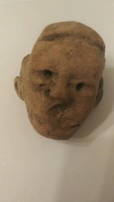 Pre-Columbian Ancient Peruvian Head from a Stone Carved Figure - Peru Artifact