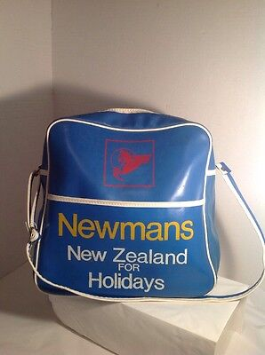 Vintage Carry  On Luggage Bag   Vacations Retro Newmans  New Zealand Travel