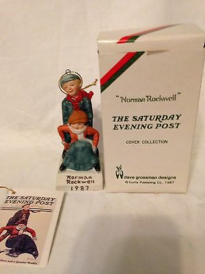 Norman Rockwell Boy Helping Lady Up 1987 Ornament Saturday Evening Post