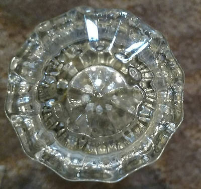 Vintage Glass & Brass Door Knobs Handles Architectural Crystal 12 sided