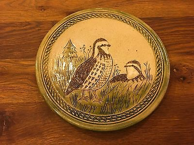 """Vintage Chinese Stoneware Art Pottery Plate """"QUAIL"""" - Artist Signed"""