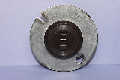Antique Brown Bakelite Porcelain Round Toggle Light Switch - 3-Way - Metal Plate