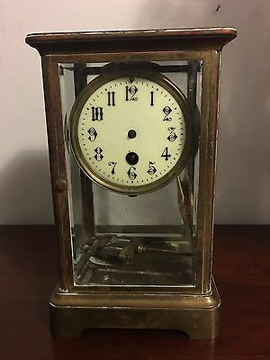 Antique Heavy solid Brass French Clock for Repair 10""