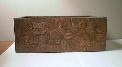 Vintage Arts & Crafts Style Repousse Hammered Copper on Wood Box Floral Ivy