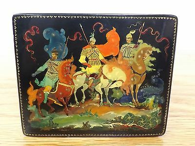 "Authentic 1958 Russian Palekh Lacquer Box Hand Painted Signed and Dated 4.75"" W"